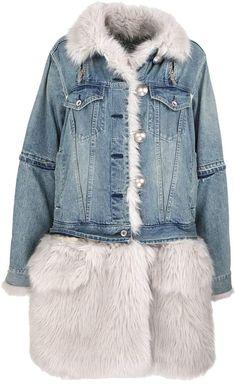 2fe291a9fdda American Eagle Women s Bling Studs Denim Faux Fur Collar Jean Jacket ...