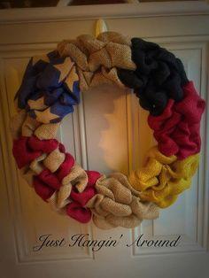 German american burlap wreath/ german flag by TriciaMaeHangtime $40