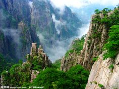 "Huangshan  literally ""Yellow Mountain""  is a mountain range in southern Anhui province in eastern China.the area is well known for its scenery, sunsets, peculiarly shaped granite peaks, Huangshan Pine trees, and views of the clouds from above."