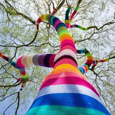 "street-art-fragments: "" Yarn bombing, yarnbombing, yarnstorming, guerrilla knitting, urban knitting or graffiti knitting is a type of graffiti or street art that employs colorful displays of knitted. Rainbow Tree, Art Photography, Photo Art, Graffiti, Street Art Utopia, Creative, Land Art, Art Inspiration, Color"