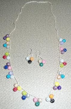 Crocheted Multi Color Beaded Necklace and matching by NancysNook58, $16.99