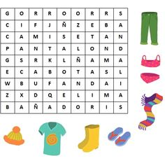 Sopa de letras : La ropa.