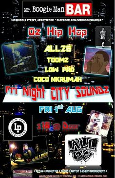 Melbourne show..   ** OZ HIP HOP **   - Fri Night City Soundz -   MCs, DJs & Local Artists:  ALL 26 TOOMZ LOW PRO COCO NKRUMAH  Fri 1st AUG from 8pm  @MrBoogieman Bar - Abbotsford Melbourne, Australia  Tix $10 @door.     **************  *KaZbAhMeDiA* Artist & Event Mngmt,  Media*Marketing*Publicity www.kazbahmedia.com Ph: 0414-567-126 Promo products/services: Merch*Posters*Flyers kazbahmedia.oz@gmail.com   *******************