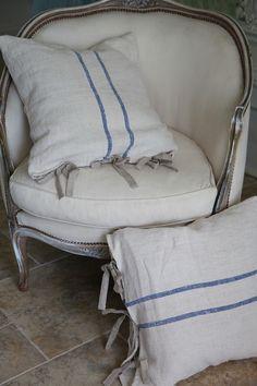 Antique European Grain Sack Pillow Slip...Romantic Elegance