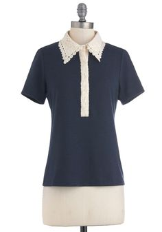 Game, Set, Natch Top - Blue, Tan / Cream, Lace, Short Sleeves, Mid-length, Casual