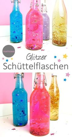 Schüttelflaschen / Sensorikflaschen selber machen DIY Anleitung Basteln Kinder autour du tissu déco enfant paques bébé déco mariage diy et crochet Diy Upcycled Art, Diy For Kids, Crafts For Kids, Children Crafts, Calm Down Jar, Upcycled Furniture Before And After, Shake Bottle, Discovery Bottles, Diy Crafts To Do