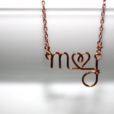 Custom Initials Necklace with Heart by Solshei.  xo