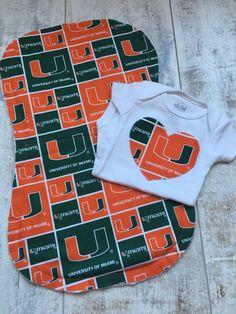 University of Miami Baby - University of Miami Hurricanes Bodysuit and Burp…