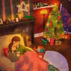"""Puuung ❤️ Is. 이미지 Christmas Eve """"We drank coffees while listening to carols"""" Illustration Photo, Couple Illustration, Anime Couples, Cute Couples, Puuung Love Is, Cute Couple Art, Art Anime, Couple Cartoon, Couple Drawings"""