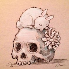 grafika Chiara Bautista, skull, and bunny Art Inspo, Kunst Inspo, Art And Illustration, Illustrations Posters, Fantasy Kunst, Fantasy Art, Chiara Bautista, Art Mignon, Art Graphique