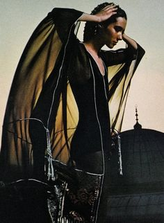 Turkey: Chameleon Clothes  Vogue UK, November 1971  Photographer: Barry Lategan  Model: Moyra Swan  Dress by Thea Porter