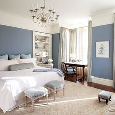 Blue & white bedroom.