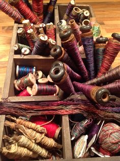 Wrap your hand dyed threads on spools, and small sawn off bits of tree branches,, they make perfect spools!! I love my wonderful threads. Bought the white stranded cotton for 20p skein! What a bargain, worth a fortune to me now !