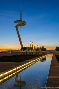 Torre Calatrava at sunset, Barcelona (Spain)