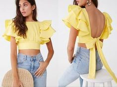 Look Fashion, Girl Fashion, Fashion Dresses, Female Fashion, Classy Outfits, Chic Outfits, Crop Top Outfits, Trendy Tops, Stylish Tops