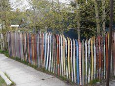 colorful ski fence