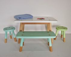 Super cute, perfect for a kids playroom or kitchen area. Love this kids table. Australian furniture design at its best - Green Cathedral Bespoke Furniture.