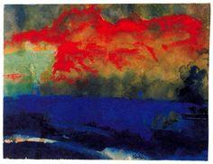 Blue Sea et de nuages rouge de Emile Nolde (1867-1956, Germany)