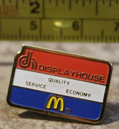 McDonalds Display House Quality Service Economy Employee Collectible Pin Button #McDonalds