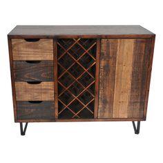 Sturtevant 4 Drawer / 1 Door Clean Rustic Wine Cabinet - Zeckos