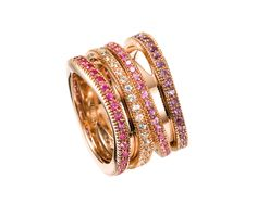 Mattioli ASPIS Collection  Rose gold ring with pink sapphires  MAN73016C