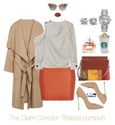 """""""Striped pumpkin"""" by theglamcorridor ❤ liked on Polyvore featuring River Island, Casadei, Gucci, Rolex, Blue Nile, Lime Crime, Chloé, Christian Dior and Monse"""