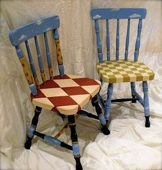 40 Top Diy Painted Chair Designs Ideas Try - Page 13 of 47 Hand Painted Chairs, Whimsical Painted Furniture, Hand Painted Furniture, Repurposed Furniture, Painted Tables, Painted Wood, Trendy Furniture, Diy Furniture, Furniture Design
