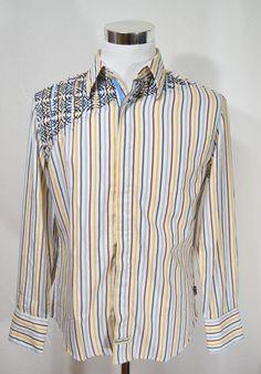 ENGLISH LAUNDRY Men's Embroidered Design Long Sleeve Dress Shirt Size M Medium #EnglishLaundry #ButtonFront