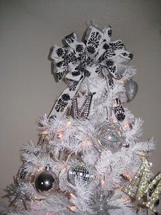 White and black damask chrsitmas tree