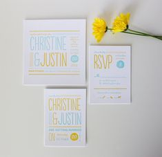 Modern Wedding Invitation - Christine - Whimsical Letterpress Invitation. $10.00, via Etsy.
