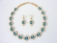 DIY Jewelry: Free beading pattern of pearls and crystals woven into a lovely diamond motif. Motif can be used for earrings, bracelet, or necklace.