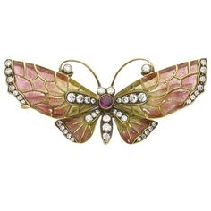 Enamel Ruby Diamond Gold Butterfly Brooch ($7,335) ❤ liked on Polyvore featuring jewelry, brooches, multiple, gold butterfly jewelry, gold brooch, gold jewellery, gold diamond jewelry and ruby brooch