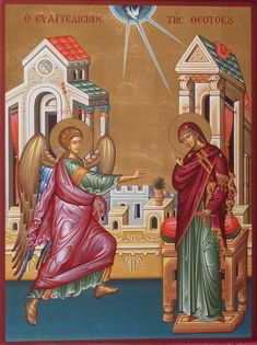 Annunciation of the Mother of God by logIcon on DeviantArt Byzantine Icons, Byzantine Art, Russian Icons, Medieval, Religious Icons, Catholic Art, Orthodox Icons, Sacred Art, Christianity