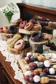 DESSERTS BAR/TABLE: Rustic Style Pastries + on Wood Planks + on Rustic Wooden Bar/Table + Doily Table Runner, MANY Doilies together, OR use Woven DOILY TABLECLOTH! #DoilyTablecloth