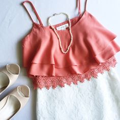 "Chiffon and Crochet Crop Top This coral crop top is flirty and flattering! Adjustable spaghetti straps • Bust 17"" Forever 21 Tops Crop Tops"