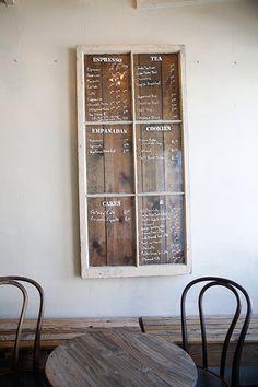 sf: dandy + hollow menu written on vintage window at hollow / sfgirlbybaymenu written on vintage window at hollow / sfgirlbybay Bakery Shop Design, Coffee Shop Design, Deco Restaurant, Restaurant Design, Menu Design, Cafe Design, Menu Board Design, Design Design, Alter Do Chao