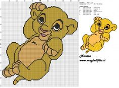 Schema punto croce baby Simba (Il re leone) Simba Bebe, Baby Simba, Lion King Baby, Disney Lion King, Disney Cross Stitch Patterns, Cross Stitch For Kids, Cross Stitch Kits, Cross Stitch Baby Blanket, Simba Rey Leon
