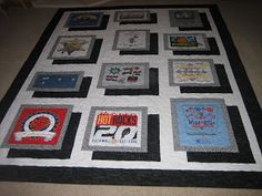 tshirt quilt with shadow boxes -- Bell Creek Quilts: February 2009