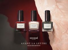 The new Soigné Avant La Lettre Collection. Inspired by bold winter shades such as deep and fiery reds from roaring fires to dark, haunting greys to accompany the long winter nights. #soigne #séduisant #chérir #mystérieuse #nailpolish #nails #5free #botanical #niche #winter #aw15 #luxury