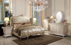 Homey Design HD 13002 Traditional Luxury 5 Pcs Queen Bedroom Set For $5390