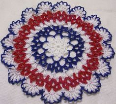 red white and blue patriotic /4th of July crocheted  by Aeshagirl