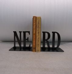 "Metal ""NERD"" bookends $20"