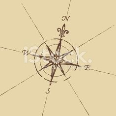 Old map compass rose - tattoo? Wolf Tattoos, Finger Tattoos, Tatoos, Arrow Tattoos, Map Compass, Compass Design, Compass Rose, Tattoo Motive, I Tattoo