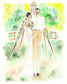 Custom wedding Portrait, Custom Wedding Invite, Custom Portrait , Custom couple portrait, Anniversary Present, First year anniversary,