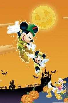 ディズニー ハロウィンのイラスト画像☆かぼちゃの魔法でミッキーがピーターパンに♡