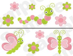 Pink & Green Baby Bugs Nursery Wall Border.