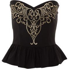 Lipsy Baroque Trim Corset ($64) ❤ liked on Polyvore