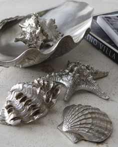 """Sea Life in Clam Shell Tray"" Table Decor at Horchow."