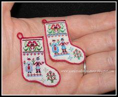 Dollhouse Miniature Christmas Stocking by ScarletSails on Etsy Miniature Christmas, Christmas Is Coming, Needlepoint, Dollhouse Miniatures, Christmas Stockings, Needlework, Stitch, Holiday Decor, Pattern