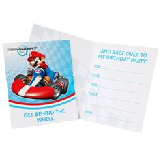 Mario Kart Wii Invitations - Includes 8 Invitations with envelopes.